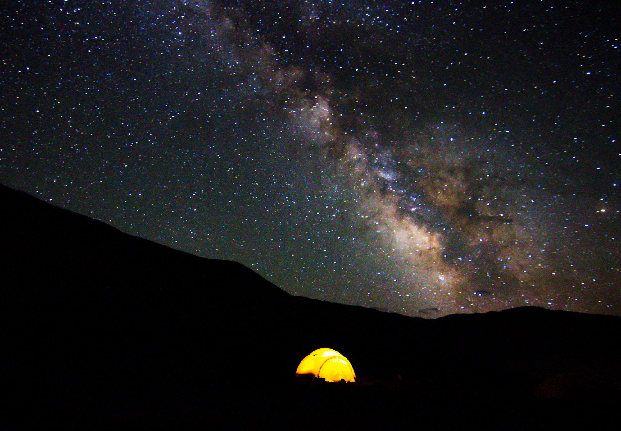 Milky Way at basecamp 14,500' photo by Bryan Long